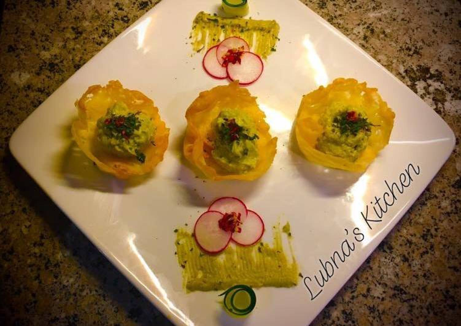 Cheddar Cups with Avocado Feta Mousse :