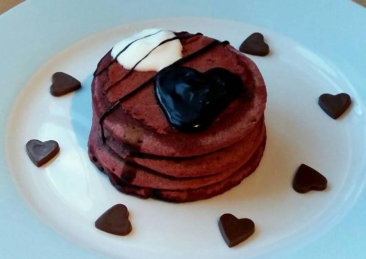 Vickys Pink Valentines Day Pancakes, GF DF EF SF NF
