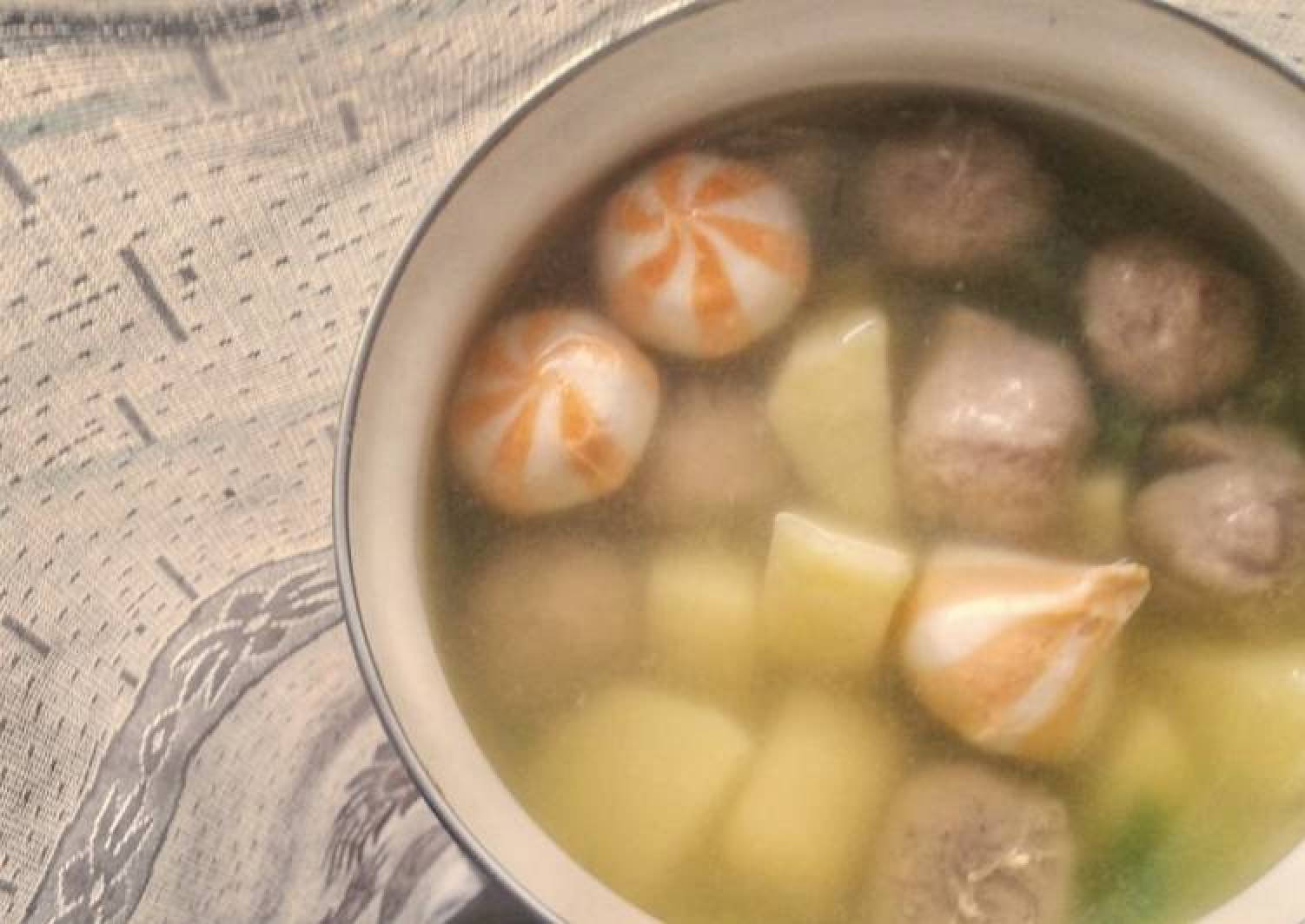 Potato Meatballs and Cheese Dumpling Clear Soup