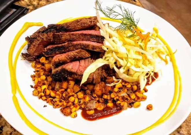 Mexican Rubbed Steak w/ Chorizo Potatoes & Mango Habanero Salsa
