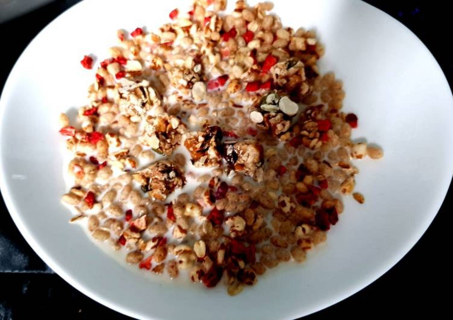 My Granola with dried strawberry and cashew Clusters