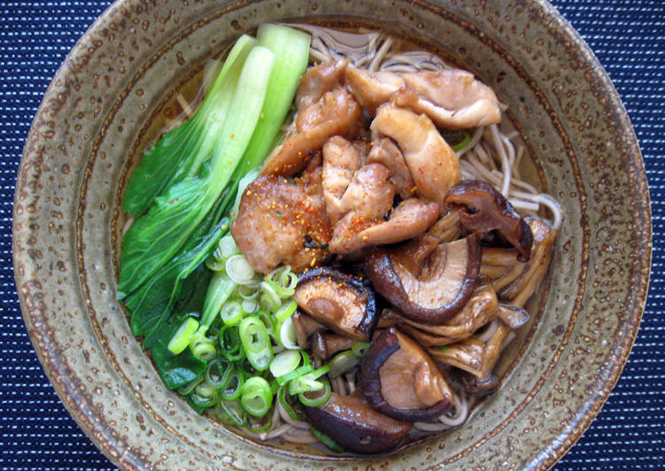 Soba Noodle Soup With Chicken  Asian Mushrooms