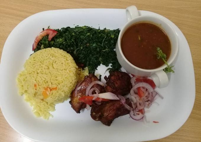 Recipe of Homemade Steamed Tumeric Rice,pan grilled chicken, Fried spinach and Mixed Vegetable gravy