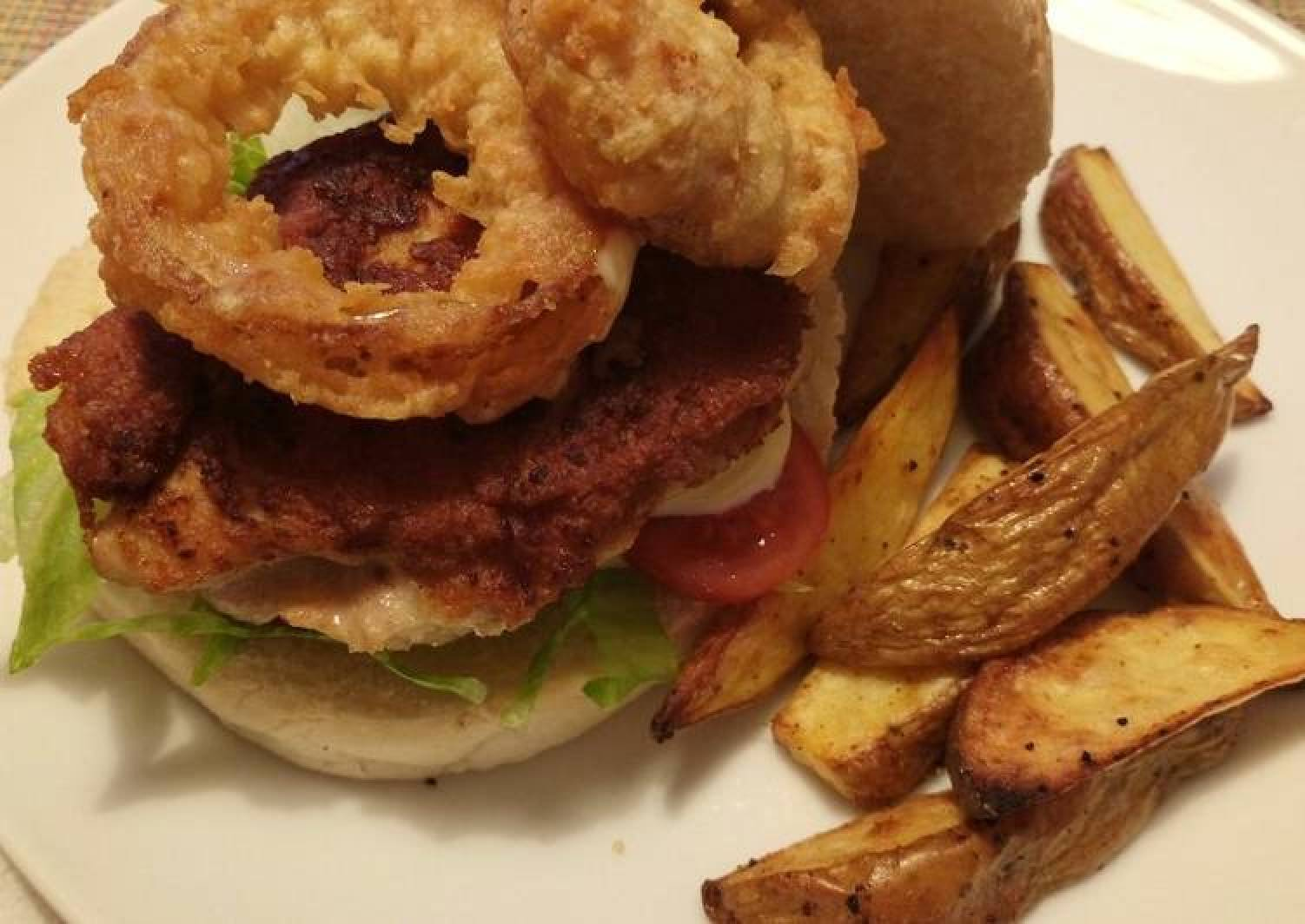 Chicken burger with beer battered onion & Cajun wedges