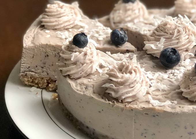 *EASY* NO BAKE Vegan Blueberry Cheesecake (NOT nut free)