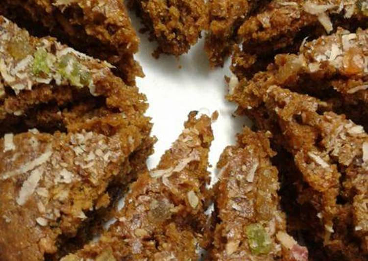 Flax seed oatmeal wheat coconut jaggery cake in Pressure cooker
