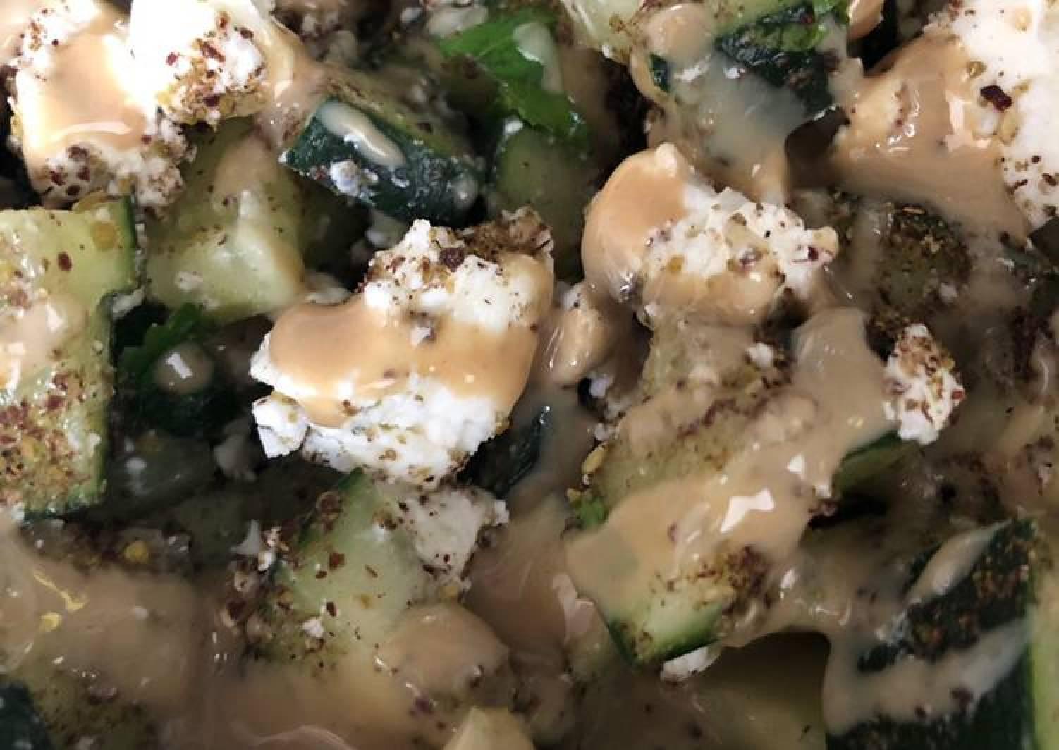 Cucumber and feta za'atar salad