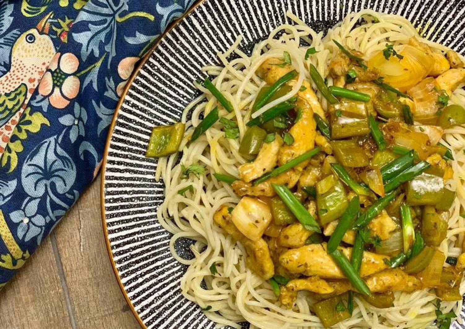 Mango Habanero Chicken with Olio Spaghetti 🍝