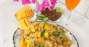 Mango chickpeas rice with frozen seekh kabab /Summer recipe