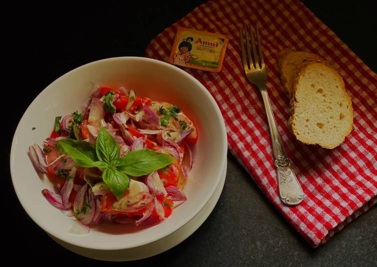 Tomato Salad with Anchovy vinaigrette