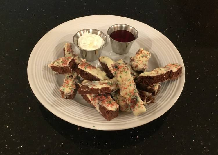Brownie Fries with Fresh Strawberry Sauce and Whipped Creamy