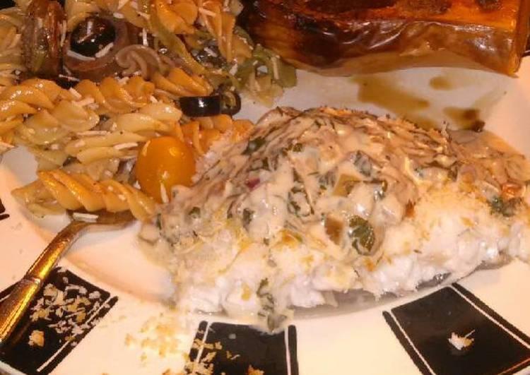 Brad's panko parmesan crusted cod with cilantro lime cream sauce