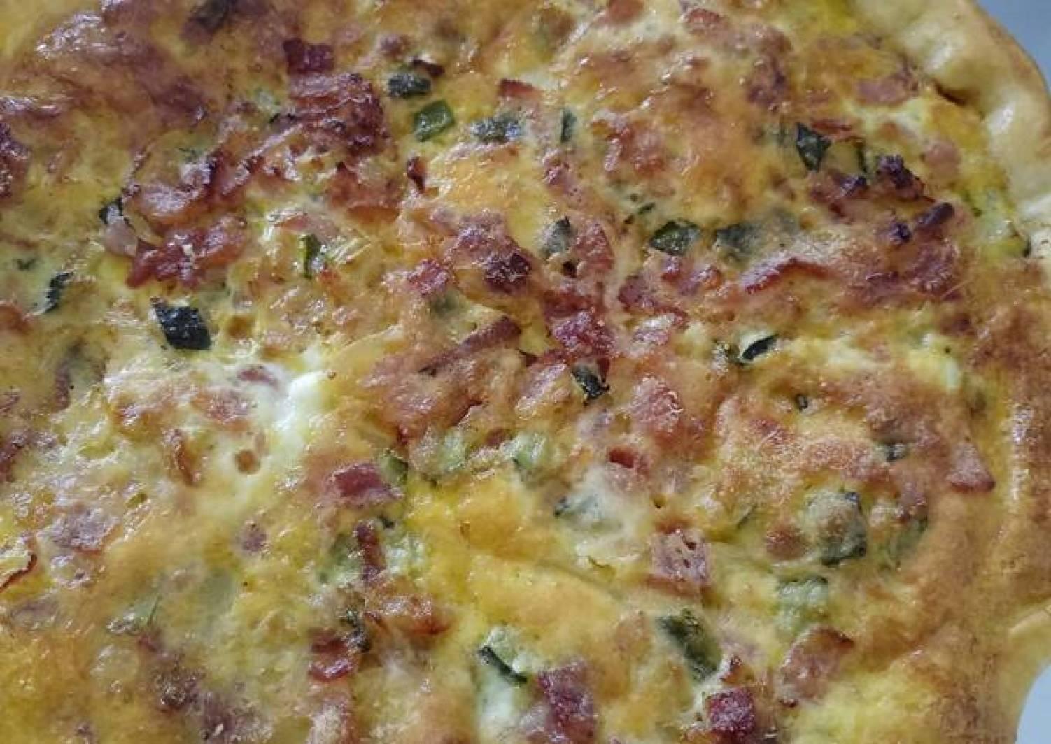 Pancetta, courgette and Parmesan quiche