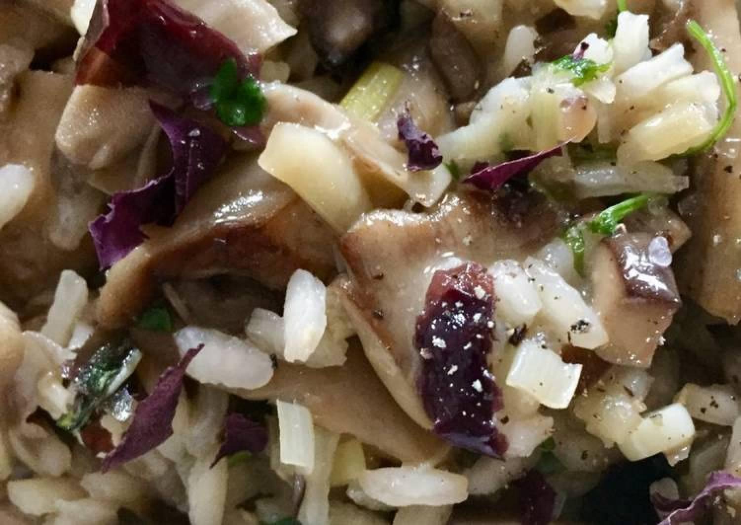 Sunny shrooms risotto (vegan)