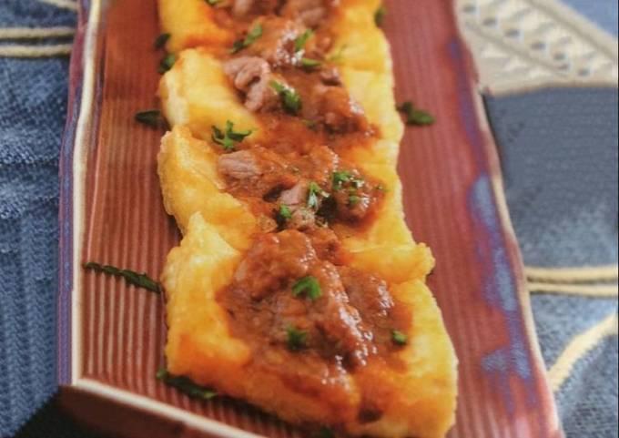Braised pork and beancurd with satay sauce
