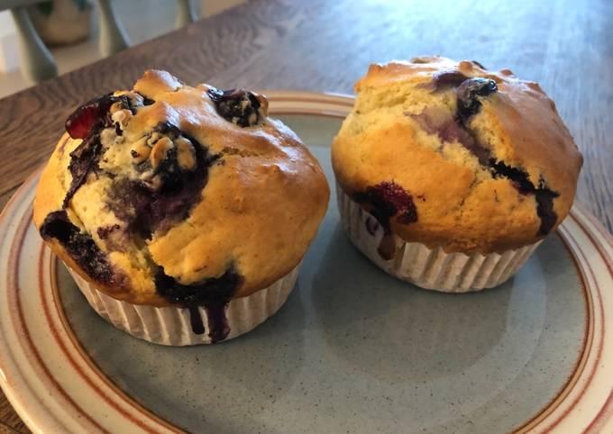 Moist Yoghurt Blueberry Muffins