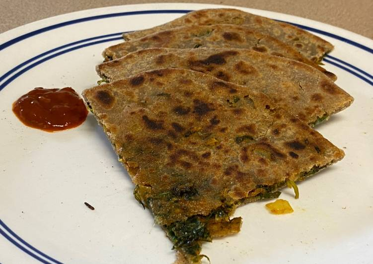 Simple Way to Make Super Quick Homemade Junglee paratha This flatbread is made out of all the green veggies with multigrain Flour