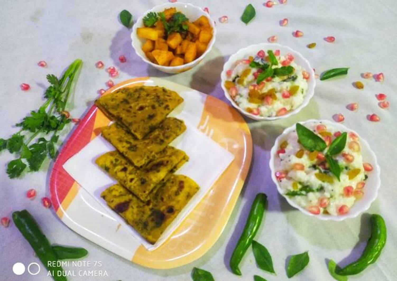 Curd Rice with Potato fry and Palak Roti Thepla