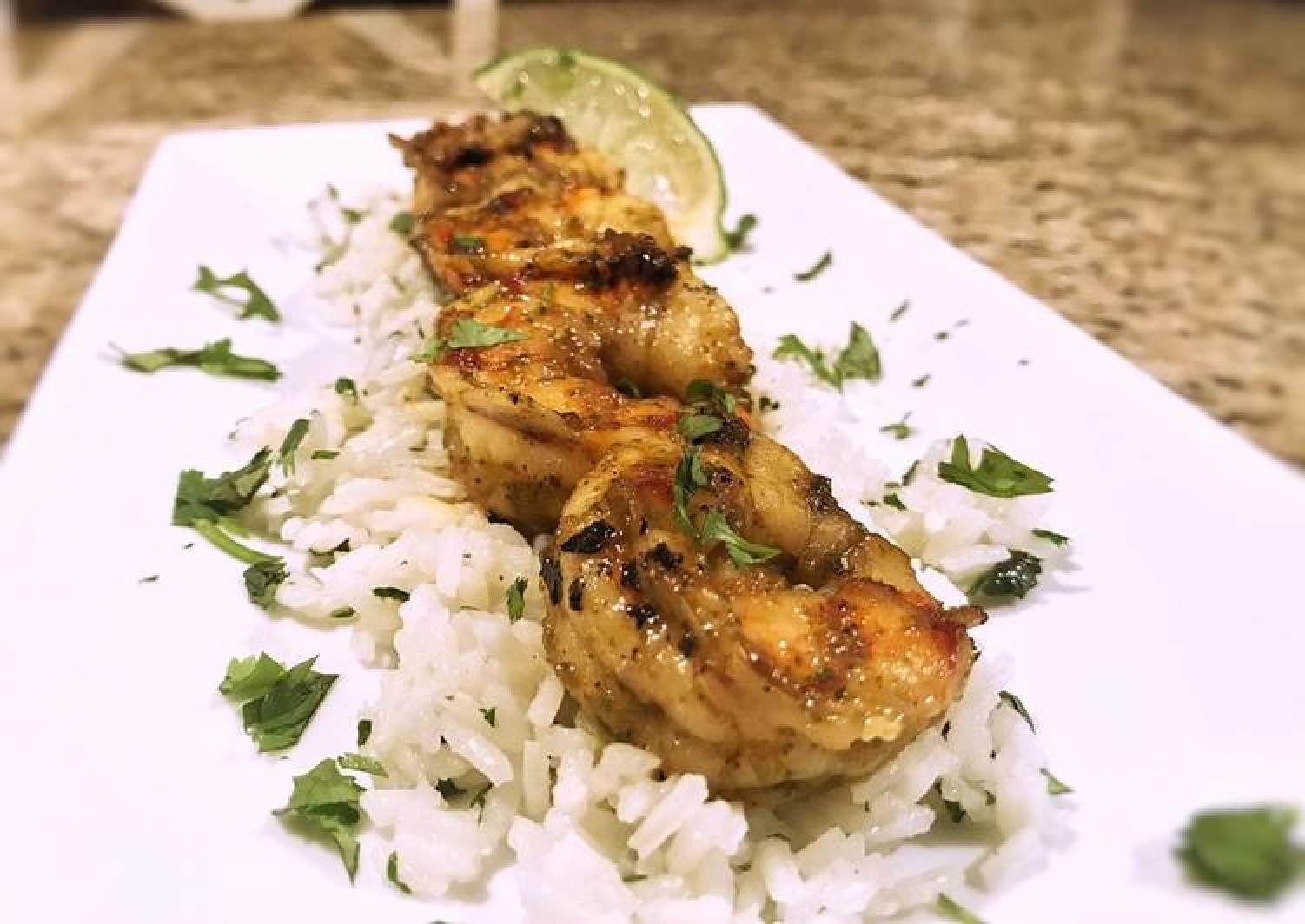 Margarita shrimp with coconut cilantro rice