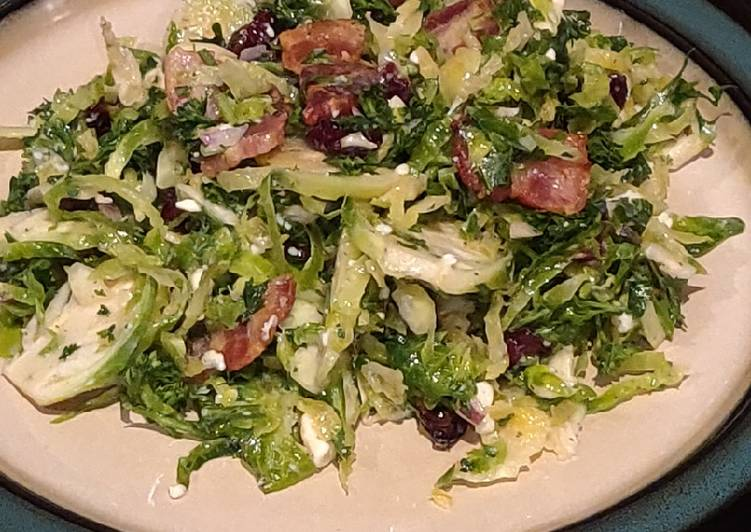 Recipe of Homemade Brussel Sprout Salad with Bacon and Blue Cheese