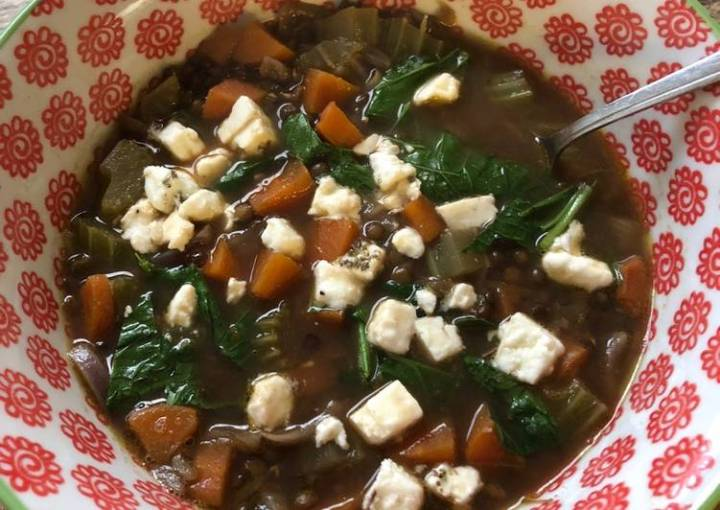 Lentil and spinach soup - vegetarian