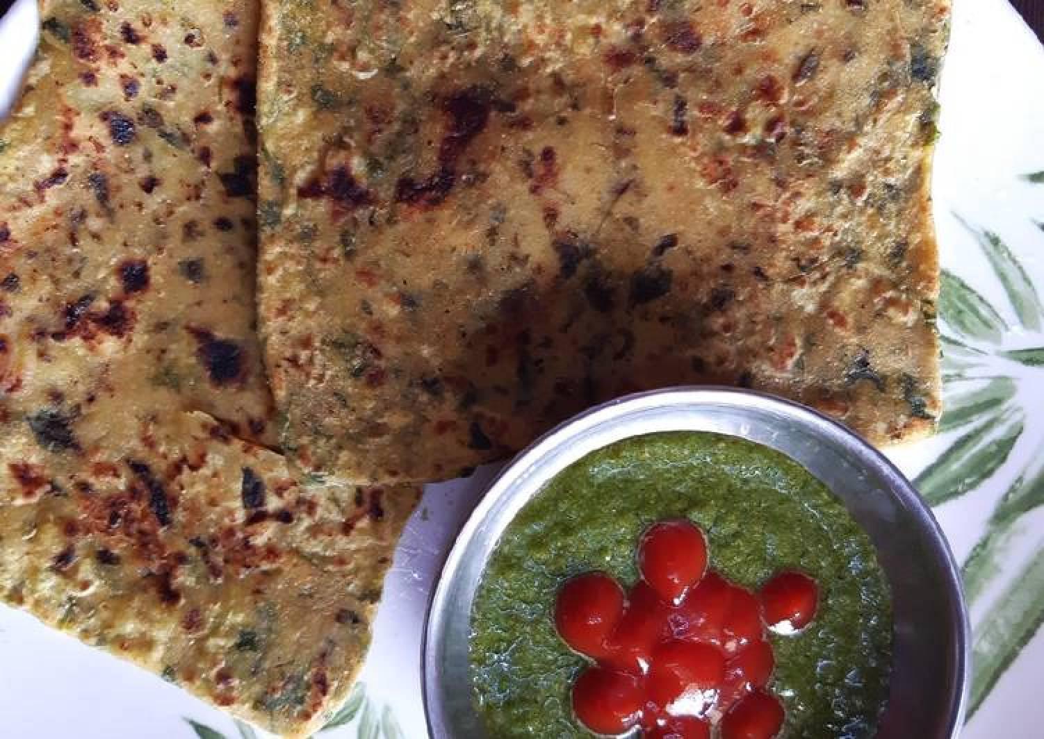 Stuffed cheese fenugreek paratha