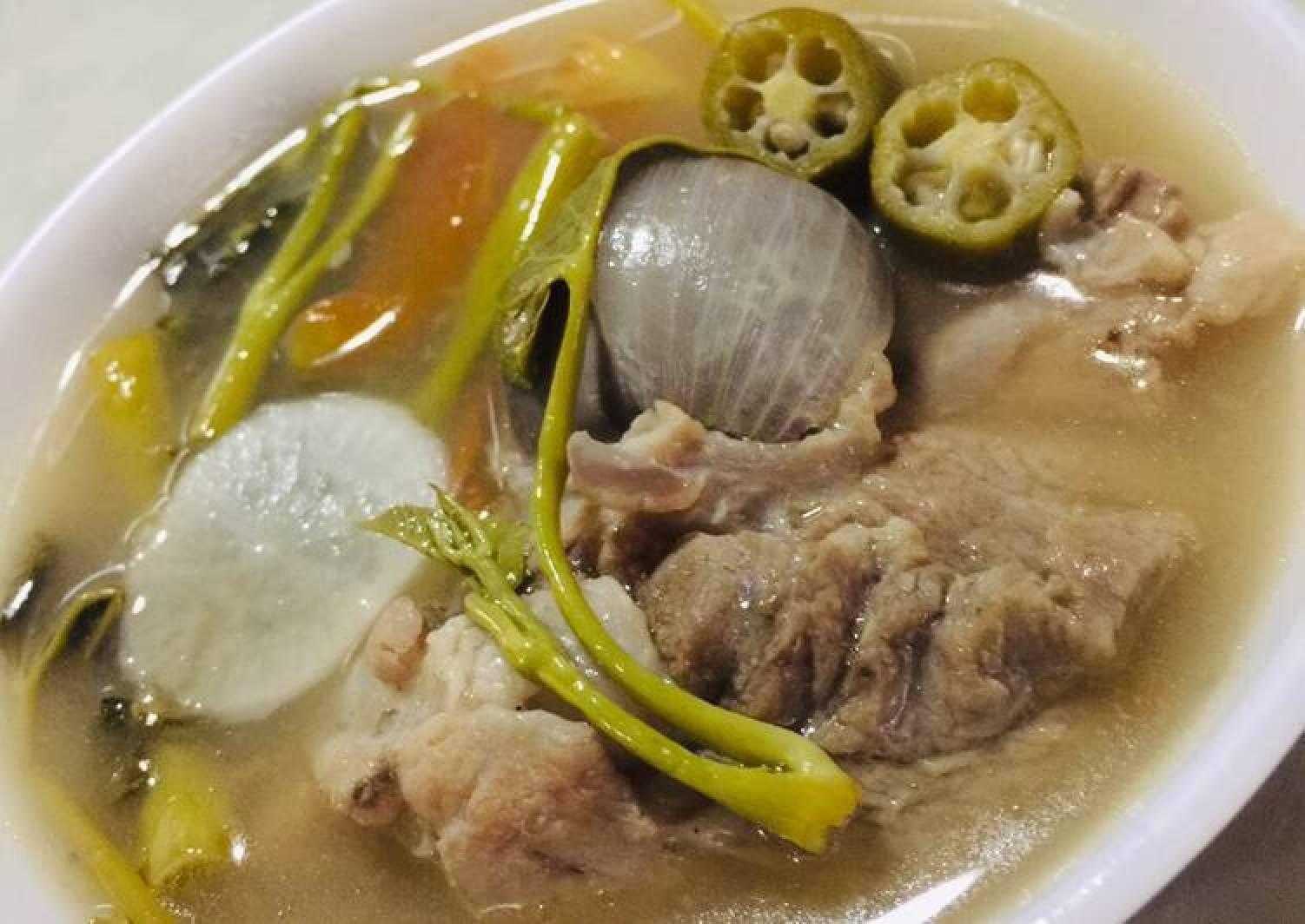 Pork Ribs & Water Spinach in Tamarind Broth - Filipino Sinigang