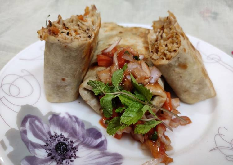 Simple Way to Make Homemade Mexican rice Burrito