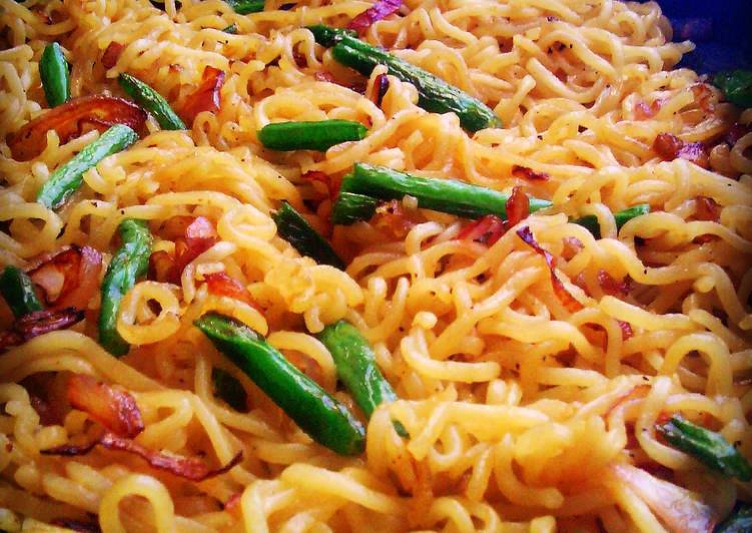 Caramelized Onions French Beans Noodles #Ramadhancontest