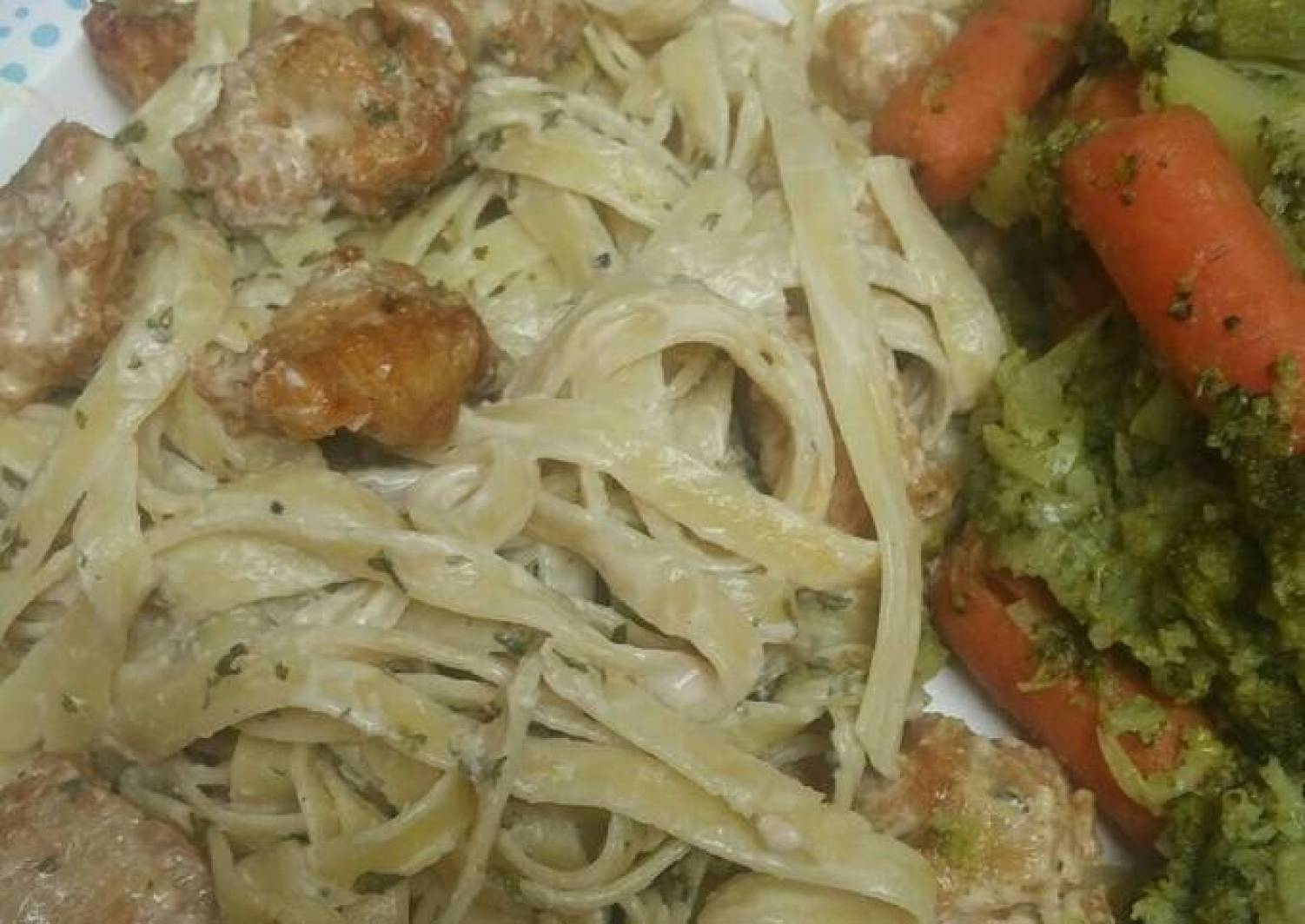 Simple Fried Chicken Fettuccine Alfredo