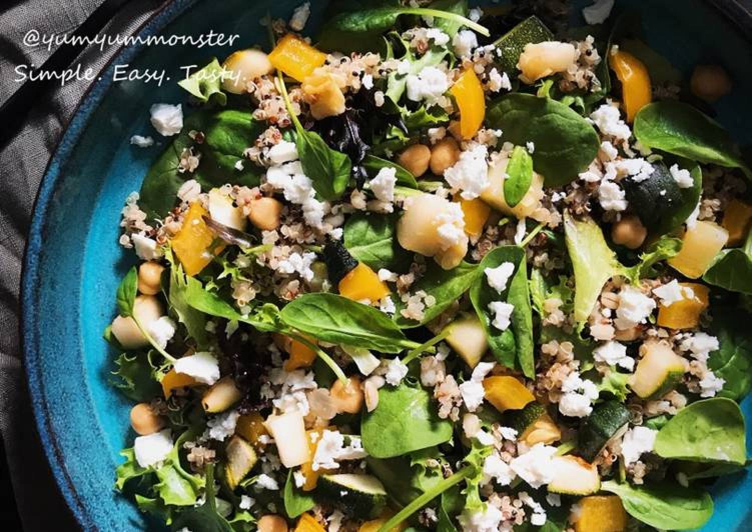 Wholegrain Vegetables Feta Cheese Salad