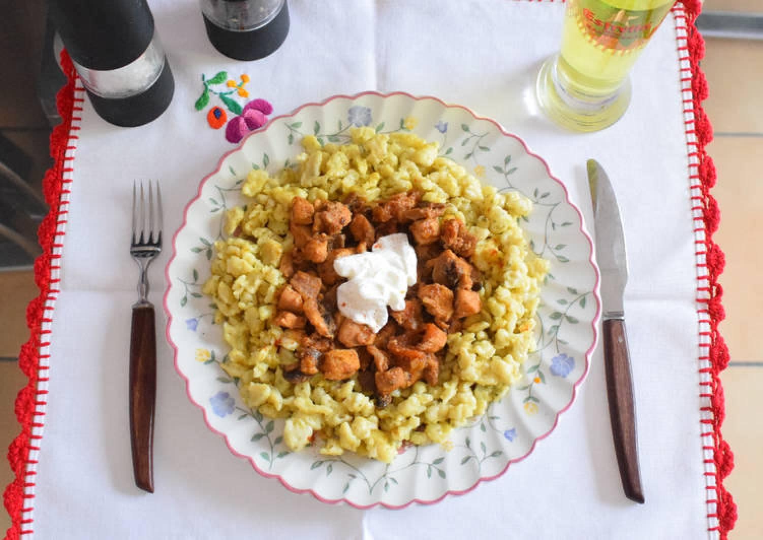 Chicken & mushroom paprikas with Hungarian dumplings