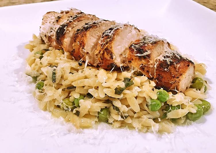 Lemon Garlic Basil Orzo with Grilled Chicken