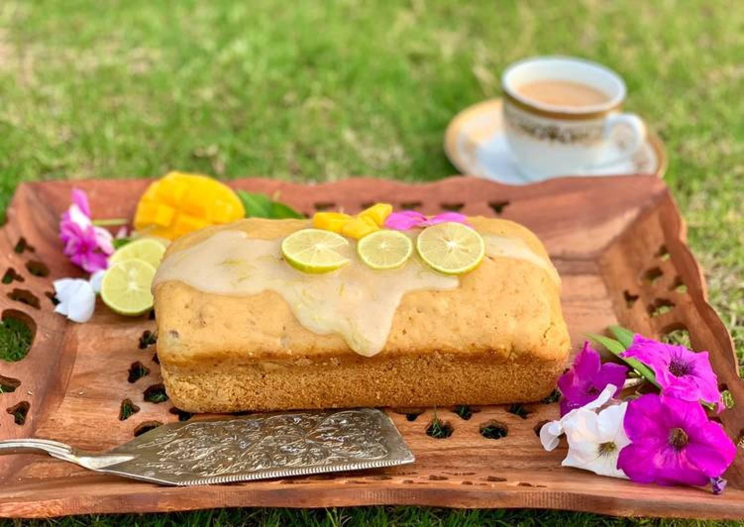 Mango Loaf Cake with lime glaze