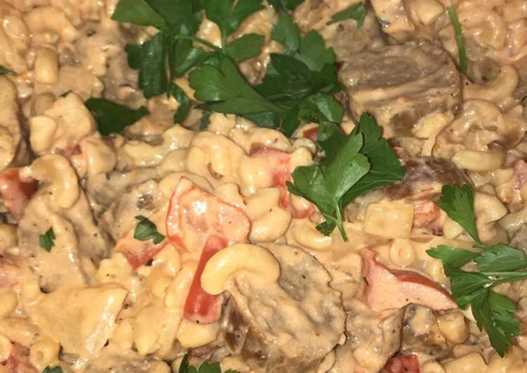 Spicy sausage and pepper pasta (healthy version)