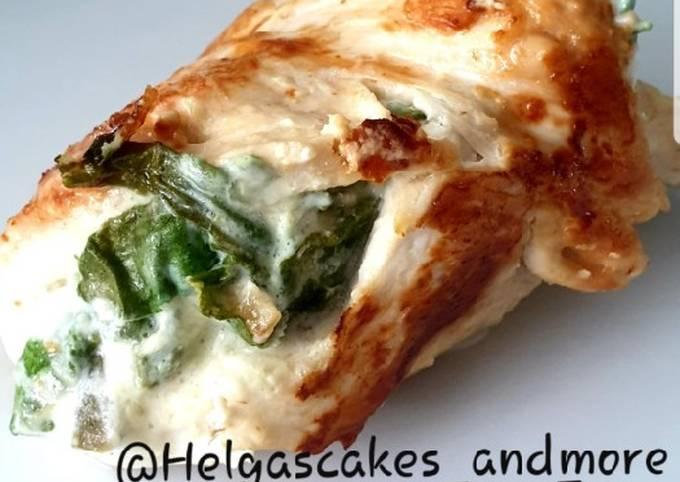 Rezept Um Jamie Oliver Hähnchenbrustfilets gefüllt mit Spinat und Frischkäse zuzubereiten