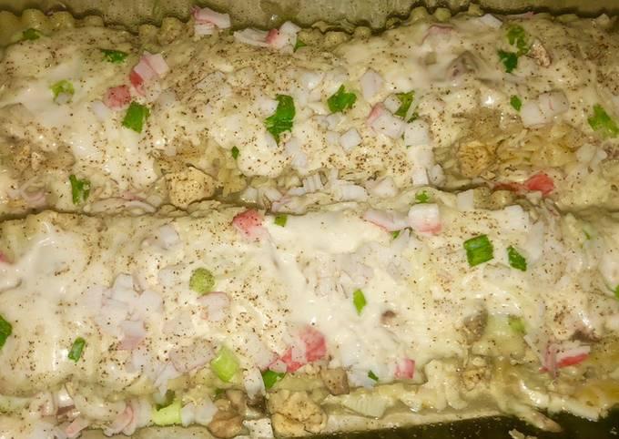 Recipe of Homemade Chicken & crab Alfredo lasagna roll ups