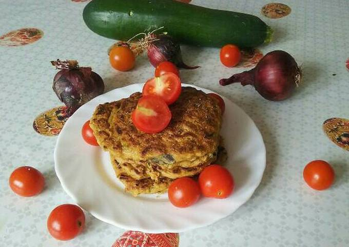 Vegan corn cheese zucchini pancakes