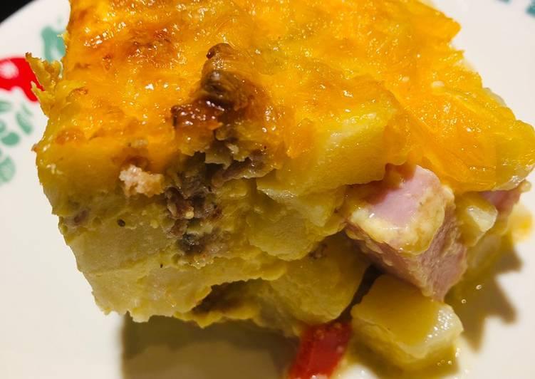 Meat Lovers Potato O'Brian Breakfast Casserole 🥘