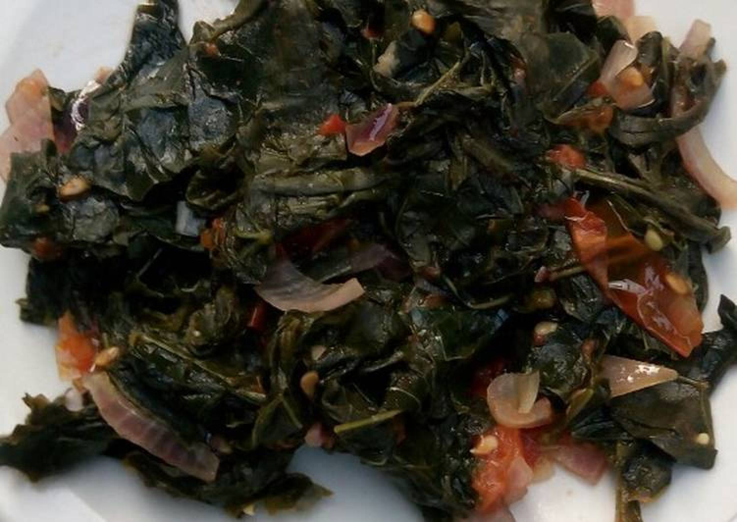 Fried mkunde leaves