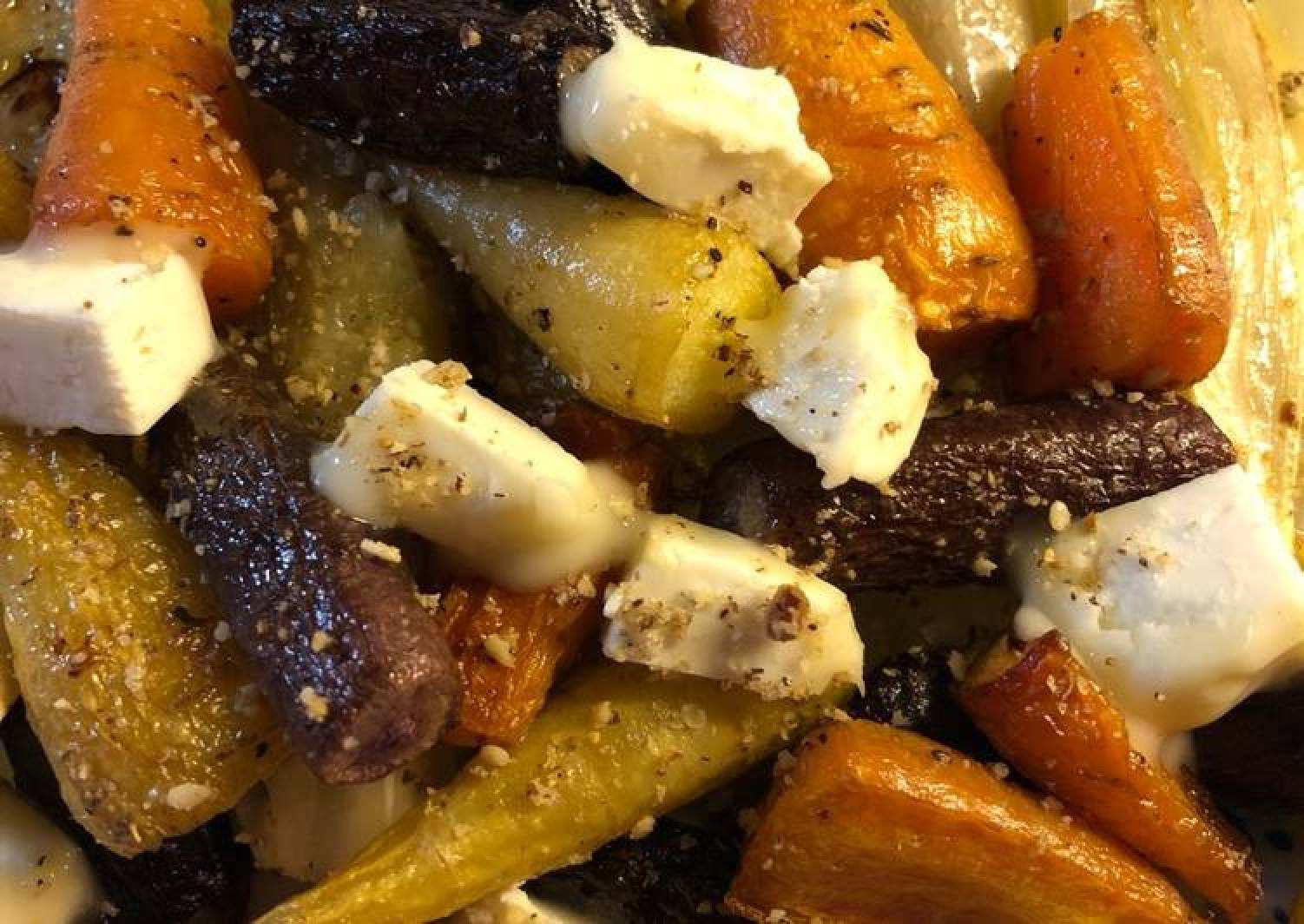 Rainbow carrots with chicory and goats cheese - vegetarian