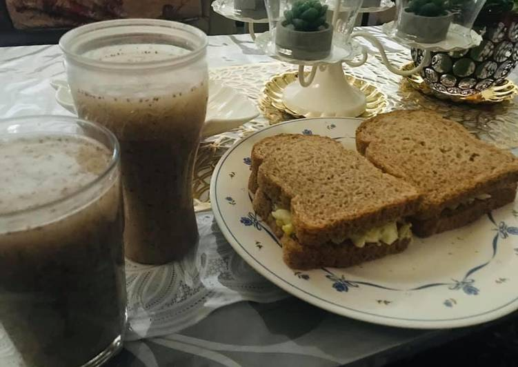 Healthy breakfast good for diet  chia lemon juice and egg cucumber sandwich