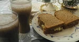 Healthy breakfast good for diet  chia lemon juice and egg cucumber sandwich