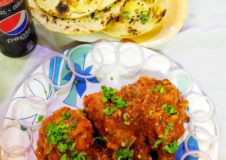 Honey Garlic Glazed Chicken drumsticks with Garlic Butter naan