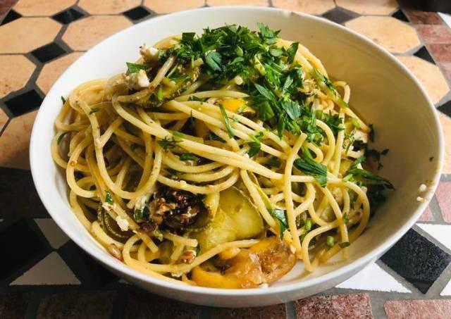 Spaghetti with Zucchini & Fried Lemon
