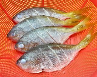 Cuci bersih dan sayat badan ikan. Lumuri dengan garam dan jeruk nipis, diamkan selama 10-15 menit lalu bilas lagi, tiriskan