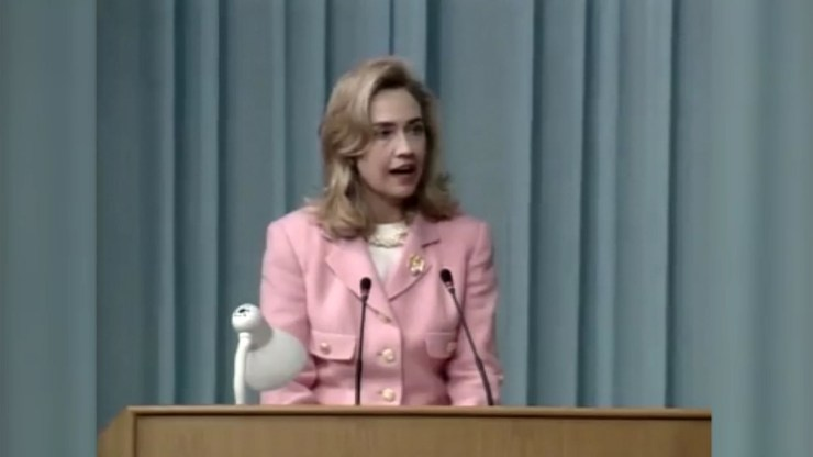 "September 5, 1995 — A defiant Hillary Clinton, then the First Lady of the United States, declaring that ""human rights are wom"