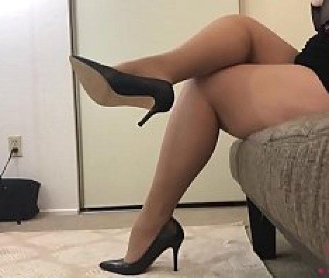 Busty Bbw Hottie Shows Off In Nude Hose And Heels Then Masturbates