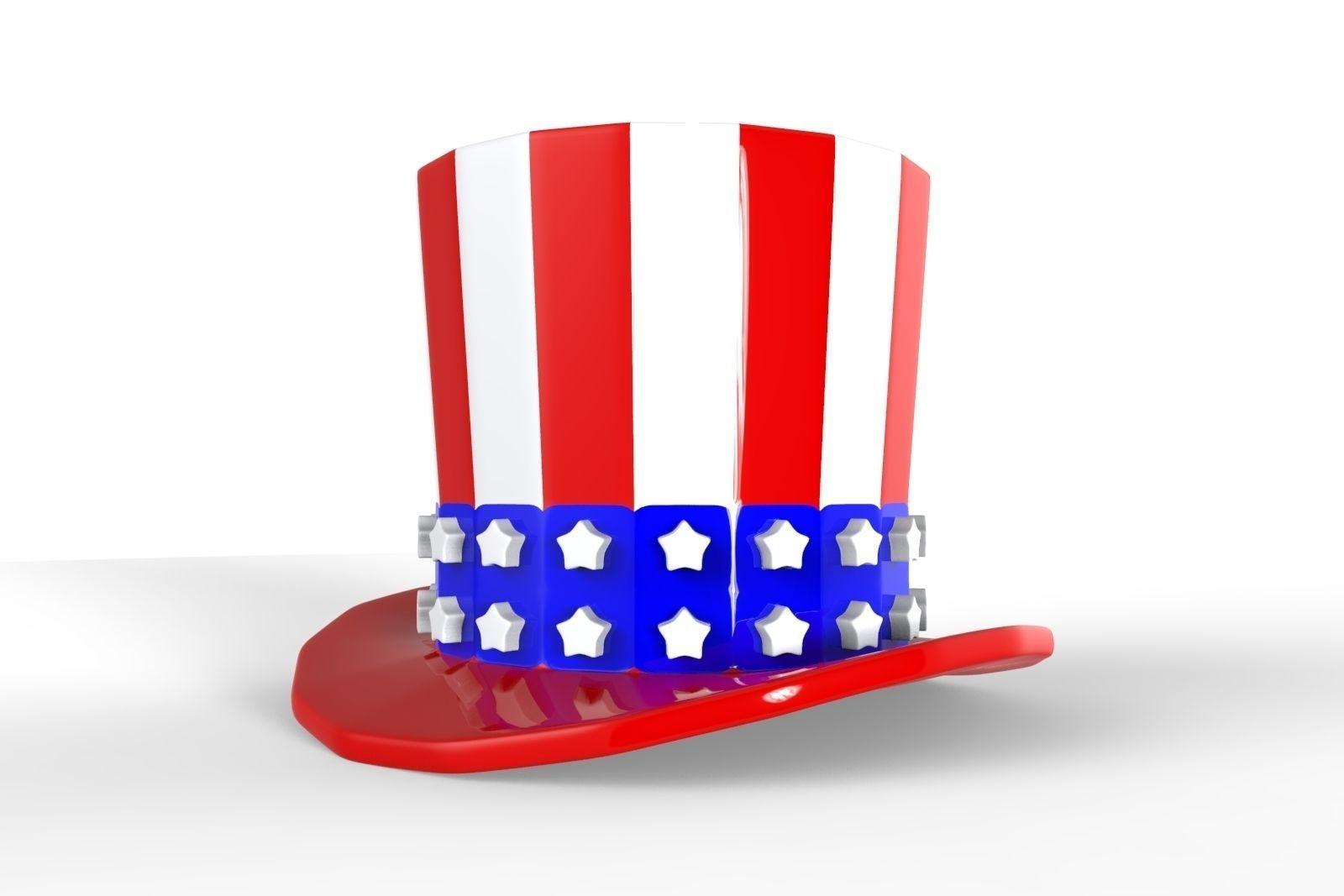 Uncle Sam Hat Free 3d Model 3d Printable Obj 3ds Fbx Stl