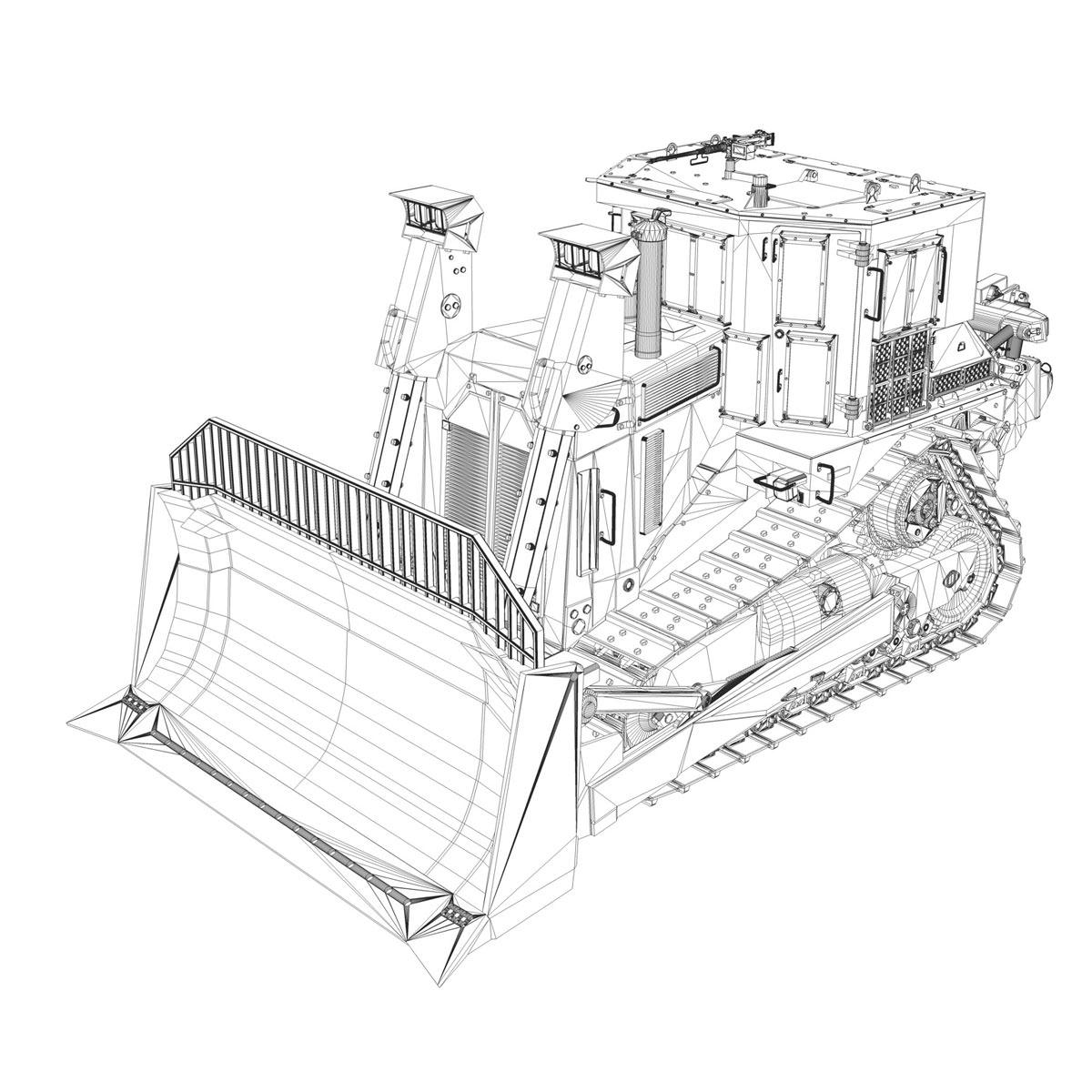 Armored Cat D9r Bulldozer 3d Model Obj 3ds Fbx C4d